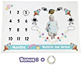 Baby Milestone Blanket -Premium Minky Fleece - Space Travel Backdrop Photo Banner Frame Prop Shower Gift with Maker - Large 60 x 40 Size