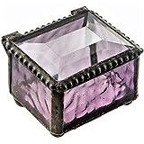 J Devlin Box 325-2 Purple Mini Stained Glass Ring Box