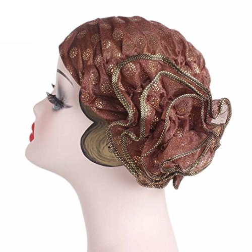 Big Flowers Turban Brim Hat, Unpara Women Ladies Retro Polyester Hat Cap Pile Cap (Coffee)