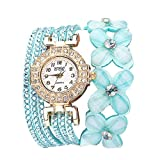 Flowers Geneva Watches Fashionable Stylish Quartz Bracelet Ladies Diamond Watch Outsta for Girls Women Gift Holiday Present (Mint Green)