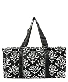 N. Gil All Purpose Open Top 23'' Classic Extra Large Utility Tote Bag 2 (Bloom Damask Black)