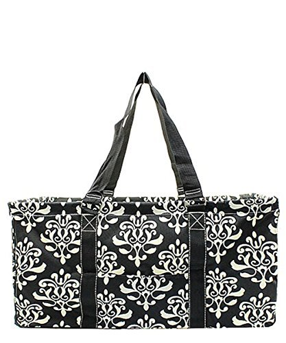 N. Gil All Purpose Open Top 23'' Classic Extra Large Utility Tote Bag 2 (Bloom Damask Black) by N.Gil