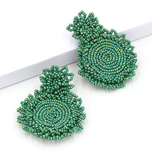 (Statement Earrings Green for Women Handmade Bead Drop Earrings Bohemian Round for Party Daily Meeting Club with Gift Box HLE128 Green)