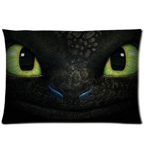 Bedroom Decor Custom How to Train Your Dragon Night Fury Face Pillowcase Rectangle Zippered Two Sides Design Printed 20x30 Pillows Throw Pillow Cover Cushion Case Covers
