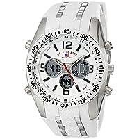 Asociación de Estados Unidos de Polo. Reloj deportivo US9282 de tono plateado para hombre con banda de silicona blanca