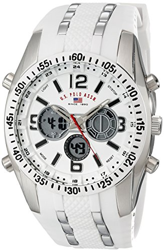 U.S. Polo Assn. Sport Men's US9282 Silver-Tone Watch with White Silicone Band ()