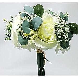 "13"" Rose Berries Bouquet Cream Silk Wedding Bridal Bridesmaid Flowers Decor 30578cr 19"