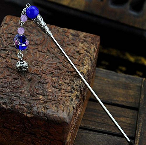 Ancient Chinese Hair Accessory Dangling Hairpin Vintage Hairpin, Blue by Panda Superstore (Image #1)