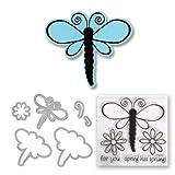 Sizzix Framelits Die Set 5PK with Stamps - Dragonflies by Stephanie Barnard