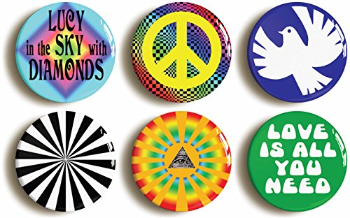 Psychedelic Hippie Sixties Button Pin Set (Size is 1inch Diameter) ()
