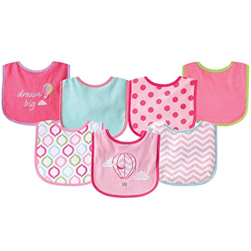 (Luvable Friends 7 Piece Drooler Bibs with Waterproof Backing, Pink Balloon)