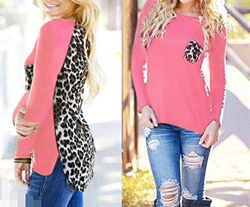T Taille Rose Fashion Rond Lopard Casual Grande pissure Tops Manches Chemisiers Haut Col Shirts Longues t Tunique Femmes Irrgulier New Blouses TAqxOfS