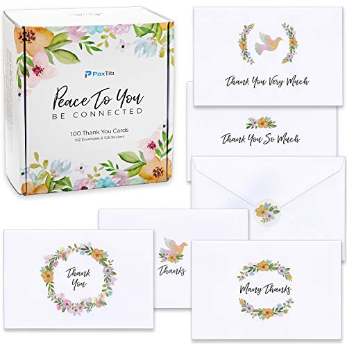 100 Thank You Cards Bulk - Floral Thank You Notes with Envelopes for Wedding, Baby & Bridal Shower - 4x6 Inches Watercolor Assortment]()