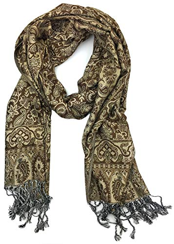 Plum Feathers Tapestry Ethnic Paisley Pattern Pashmina Scarf (Coffee Floral Paisley)