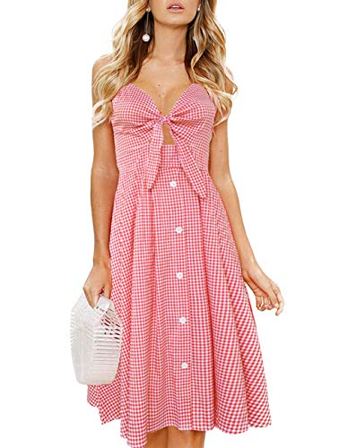 (Womens Plaid Dresses-Summer Spaghetti Strap Tie Front Button Down Sexy Backless Midi Dress Pink)