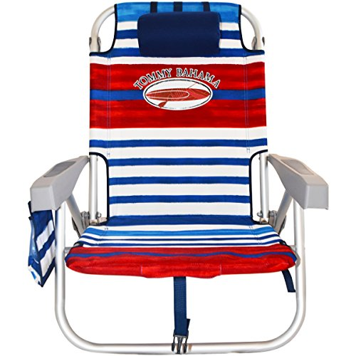 2 Tommy Bahama Backpack Beach Chairs/ Red White Blue Stripes + 1 Medium Tote Bag by Tommy Bahama Beach Gear (Image #1)