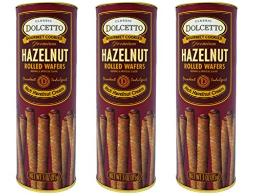 (Dolcetto Premium Cream Filled Rolled Wafers Gourmet Hazelnut Cookies - Pack of 3 (3 Ounces))