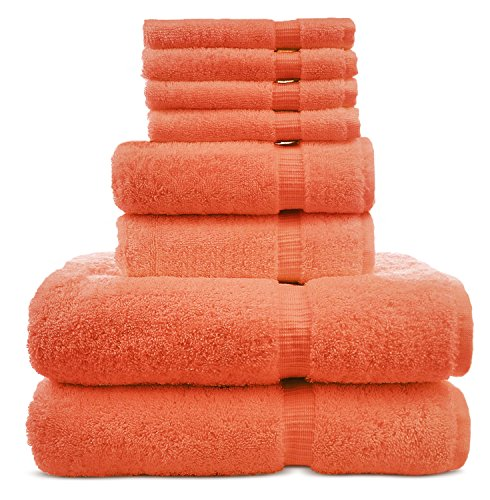 8 Piece Turkish Luxury Turkish Cotton Towel Set - Eco Friendly, 2 Bath Towels, 2 Hand Towels, 4 Wash Clothes by Turkuoise Turkish Towel (Coral) (Coral Set Bath Towel)