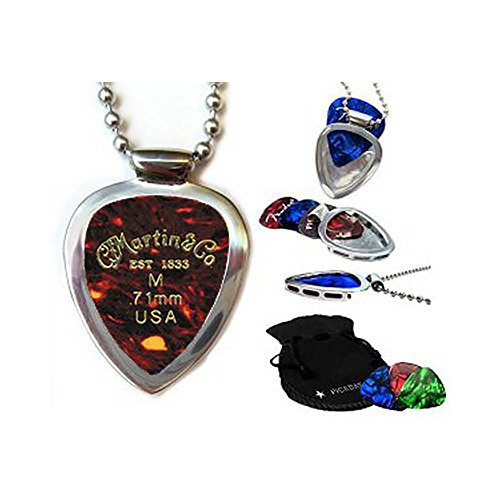 Guitar Pick Holder Pendant Necklace Pickbay Stainless Steel w MARTIN guitar picks & Bigger Ball Chain Necklace & Pick Set (Authentic)]()