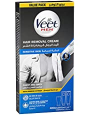 Veet for Men, Hair Removal Cream with Ginseng Extract for Chest and Back, Sensitive Skin, 200ml, Pack of 2