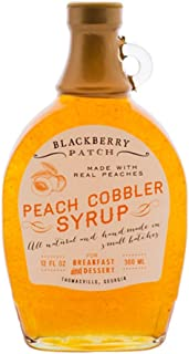 product image for Blackberry Patch Peach Cobbler Syrup Syrups All Natural Handmade In Small Batches | For breakfast pancakes and waffles or drizzled over fresh fruit 12 fl oz (Peach Cobbler, 12 Ounce)