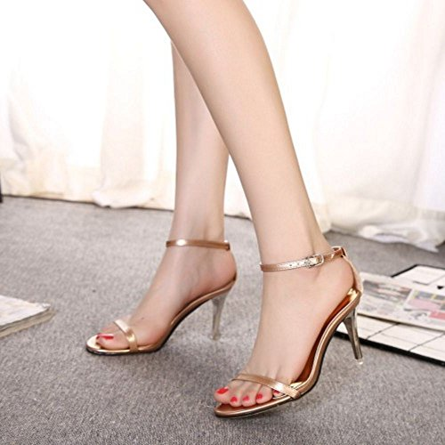 COOLCEPT Zapatos Hot Sale Mujer Moda Tacon de Aguja Heel Sandalias for Brides Boda Evening Vestir Champagne