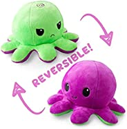 The Original Reversible Octopus Plushie | TeeTurtle's Patented Design | Polka Dot and Shimmer | Show Your Mood