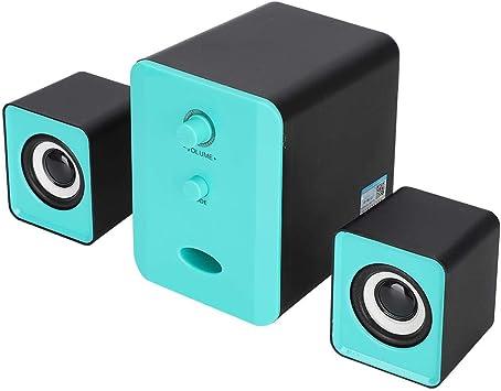 ASHATA Altavoz Bluetooth, Caja de Sonido de subwoofer Multimedia inalámbrico, Mini Altavoz Bluetooth USB Bajo Pesado para computadora portátil de Escritorio Teléfono móvil(Negro y Azul): Amazon.es: Electrónica