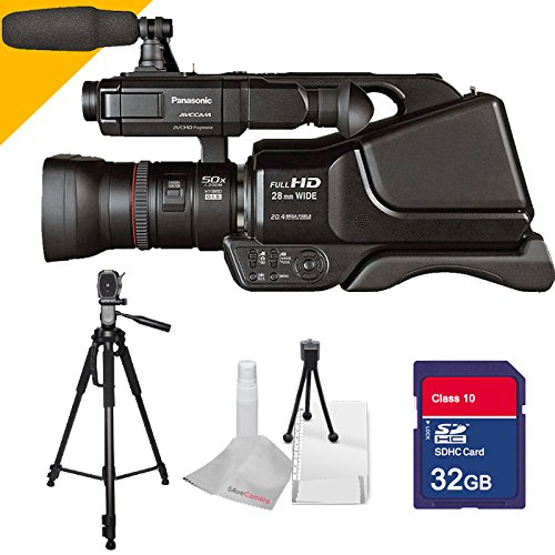 Panasonic AG-AC8PJ with 32GB SDHC Class 10 Memory Card High Speed, with Full Size 70inch Tall Tripod with 5avecamera Cloth by Panasonic