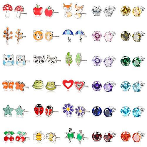 Baby Turtle Earrings - ORAZIO 30 Pairs Stud Earrings for Girls Kids Babies Animal CZ Earrings Set