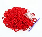Rainbow Loom Rubber Bands 3000pcs with Crochet Hook and S_clips (Red)
