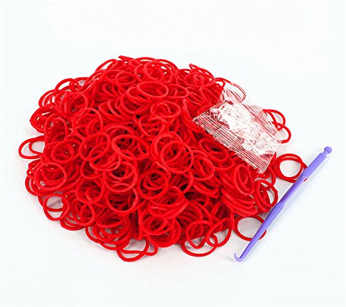 Rainbow Loom Rubber Bands 3000pcs with Crochet Hook and S_clips (Red) (Red Bands For A Loom)