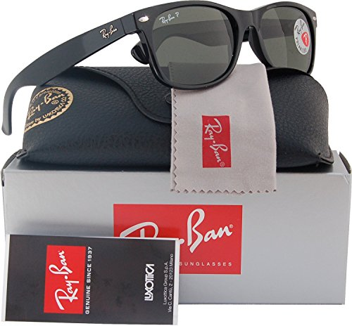 Ray-Ban RB2132 Small New Wayfarer Polarized Sunglasses Shiny Black w/Crystal Green (901/58) 2132 90158 52mm - Small Wayfarer Ban Ray