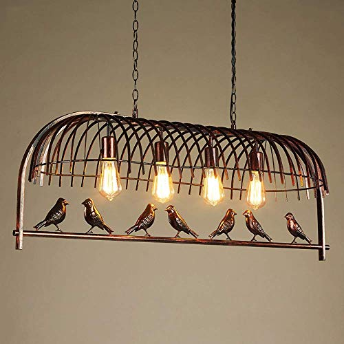 Wsxxn American Retro Wrought Iron Bird Cage Chandelier Vintage Loft Metal Ceiling Lamp Retro Creative Lovely Birds Chandelier Hanging Light for Bedroom Restaurant Cafe Bar