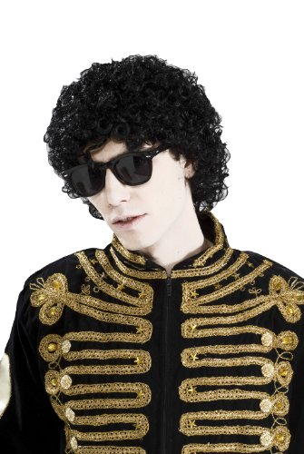 [Forum Novelties Men's 80's To The Maxx Short Pop Star Afro Wig, Black, One Size] (Mj Thriller Halloween Costume)