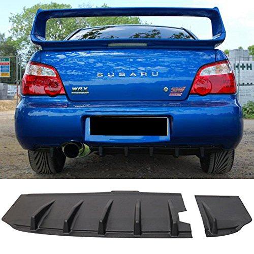 Rear Bumper Lip Diffuser Fits 2004-2007 Subaru Impreza | HT Style Black ABS JDM Add on Aftermarket Replacement Parts Rear Splitter by IKON MOTORSPORTS | 2005 2006