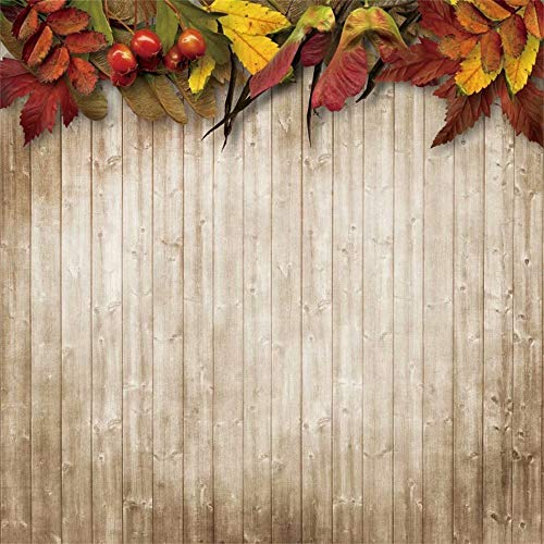 Leowefowa 8x8ft Rustic Wooden Backdrop Autumn Leaves Red Berries Wood Planks Background Autumn Theme Party Decoration Thanksgiving Day Party Backdrop Kids Adults Photo Props Photo Booth Backdrop