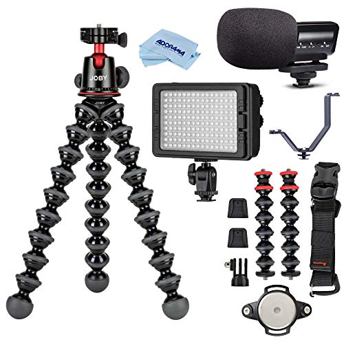 JOBY GorillaPod 5K Kit + Rig Upgrade, Professional Tripod Stand with Ball Head for DSLR or Mirrorless Cameras with Lens (up to 11lbs/5kg) Video Essential Bundle with Marantz Mic, LED Light, Bracket