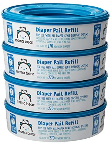 Amazon Brand - Mama Bear Diaper Pail Refills for Diaper Genie Pails, 1080 Count (Pack of four)
