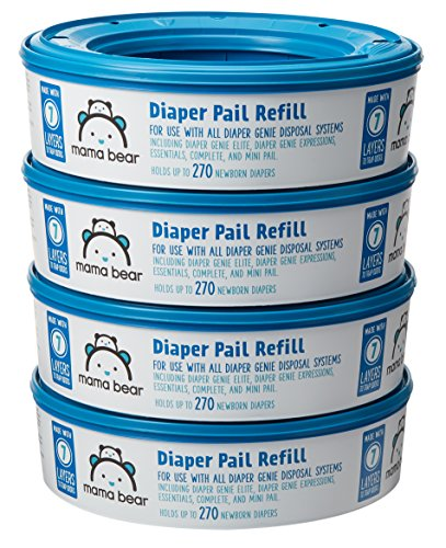 (Amazon Brand - Mama Bear Diaper Pail Refills for Diaper Genie Pails, 1080 Count (Pack of 4))