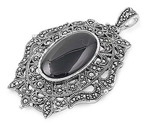 (Sterling Silver Stylized Filigree Swirl Oval Pendant Black Simulated Onyx)