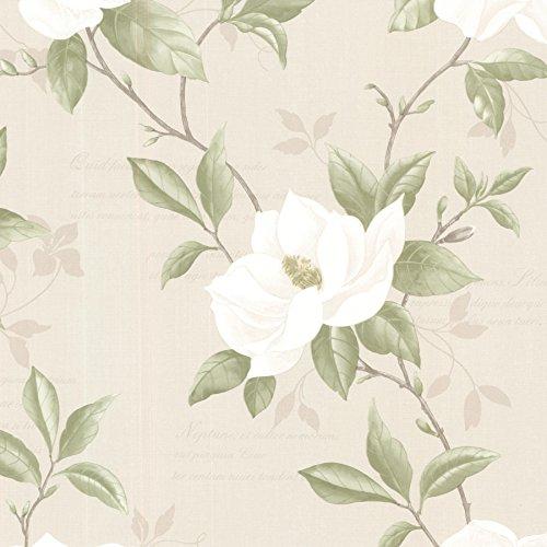 (Brewster 2532-20438 Cressida  Magnolia Trail Wallpaper, Ivory)