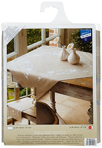 Vervaco White Birds Tablecloth Stamped Cross-Stitch Kit