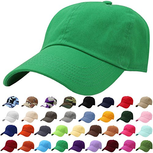 Chino Washed Cotton Cap - Falari Baseball Cap Hat 100% Cotton Adjustable Size Kelly Green 1825