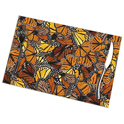 MAGICAI Placemats for Dining Table Set Orange Monarch Butterflies Heat Insulation Kitchen Non Slip Table Mats of 6