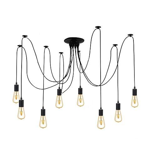 Lámpara de techo, 8 Brazos E27 Retro industriales - Lámpara ...