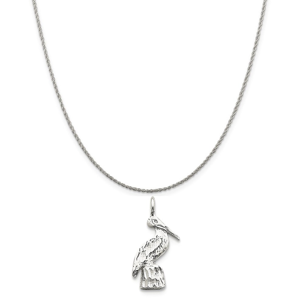 16-20 Mireval Sterling Silver Pelican Charm on a Sterling Silver Chain Necklace