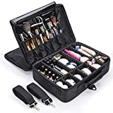 MelodySusie Travel Makeup Bag Makeup Train Case Potable Cosmetic Organizer Case 3 Layers with Adjustable Shoulder Strap (Update) (Large)