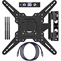 EpeiusMount TV Wall Mount for most 22-55 LED LCD Plasma Flat Screen Monitor up to 90 lb VESA 400x400 with Full Motion Swivel Articulating 20 in Extension Arm, HDMI Cable ,Cable Ties & Bubble Level