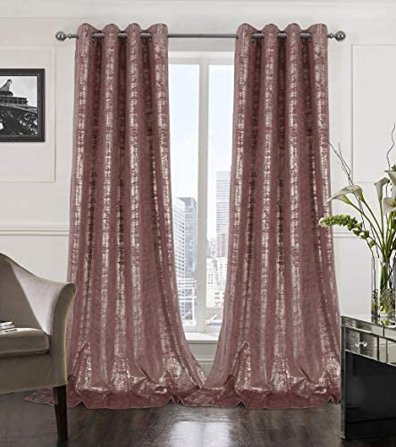 Alexandra Cole Wild Rose Soft Velvet Curtains 108 Inches Long Luxury Room Darkening Bedroom Curtains Gold Foil Print Window Curtains for Living Room Set of 2